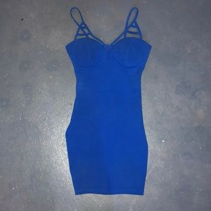 Fitted blue dress.